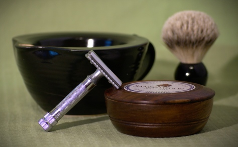 Shaving with a scuttle
